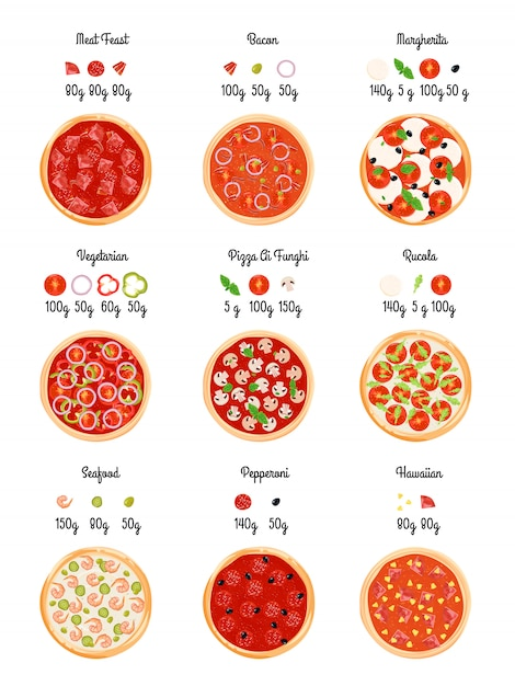 Make create pizza flat technology map with pizza selection slices Free Vector