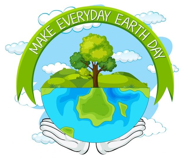 Make everyday earth day Premium Vector
