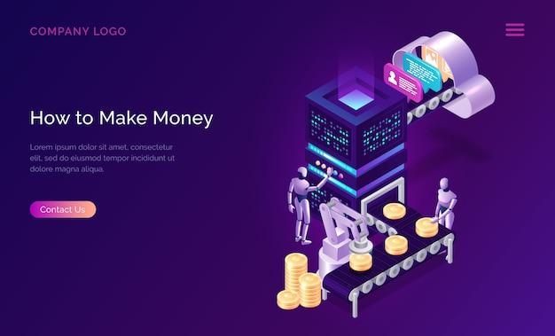 Make money, isometric concept metaphor Free Vector