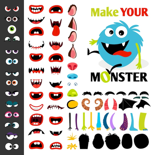 Make a monster icons set, with alient eyes, mouths, ears and horns, wings and hand body parts Premium Vector