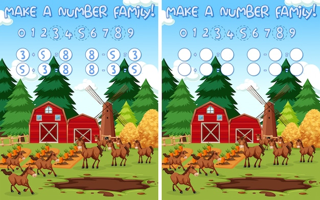 Make a number family Free Vector