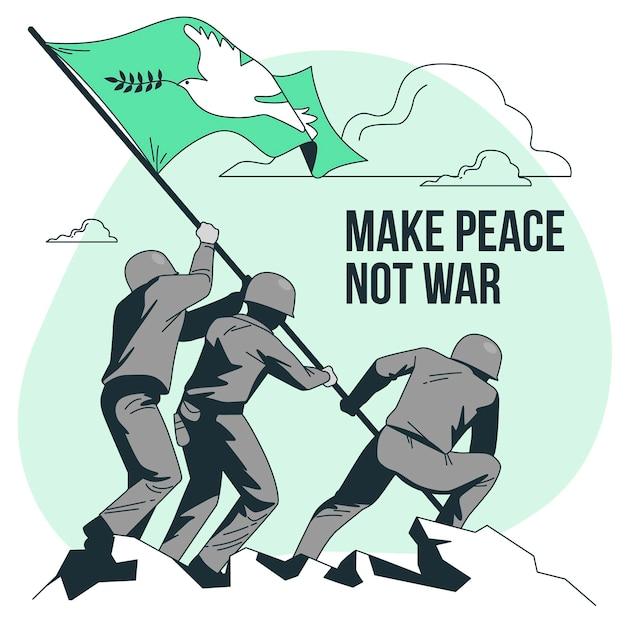 戦争ではなく平和の概念図を作る 無料ベクター