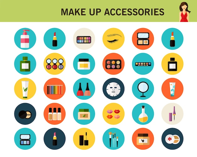 Make up accessories concept flat icons. Premium Vector