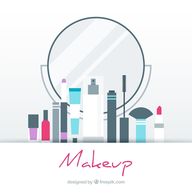 Make up background with flat design Free Vector