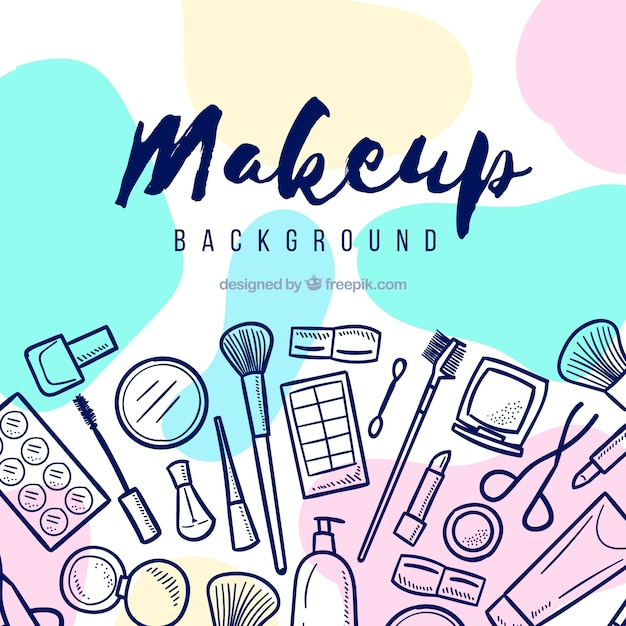 Make up background with hand drawn elements Free Vector