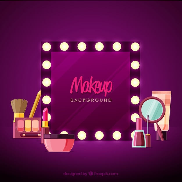 Make up background with mirror Free Vector