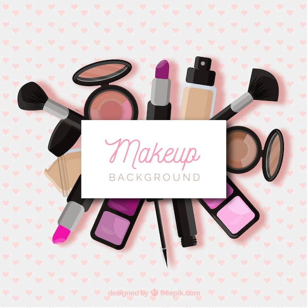 Make up background with realistic cosmetics Free Vector