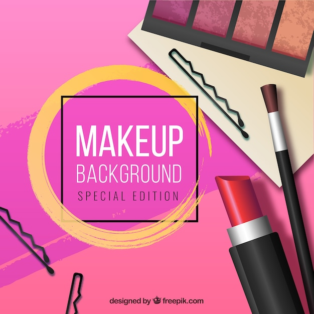 Make up background with realistic style Free Vector