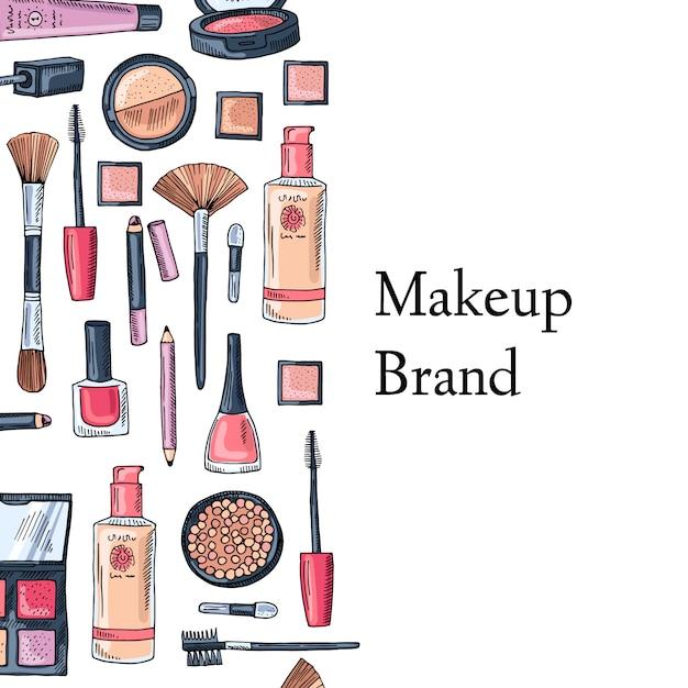 Make up brand card Premium Vector