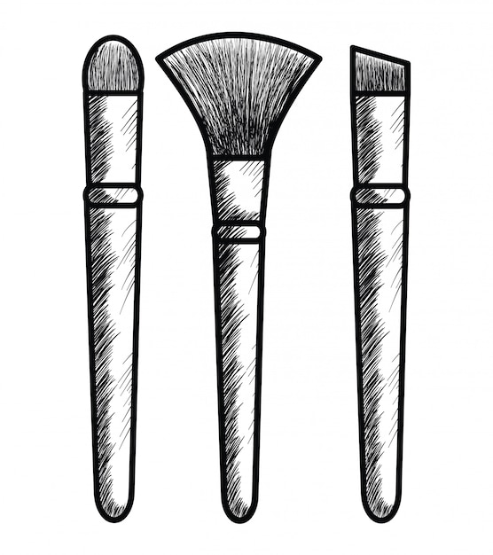 Make up brush drawing icon Free Vector