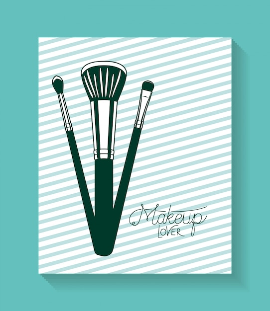 Make up brushes accessories in card Free Vector