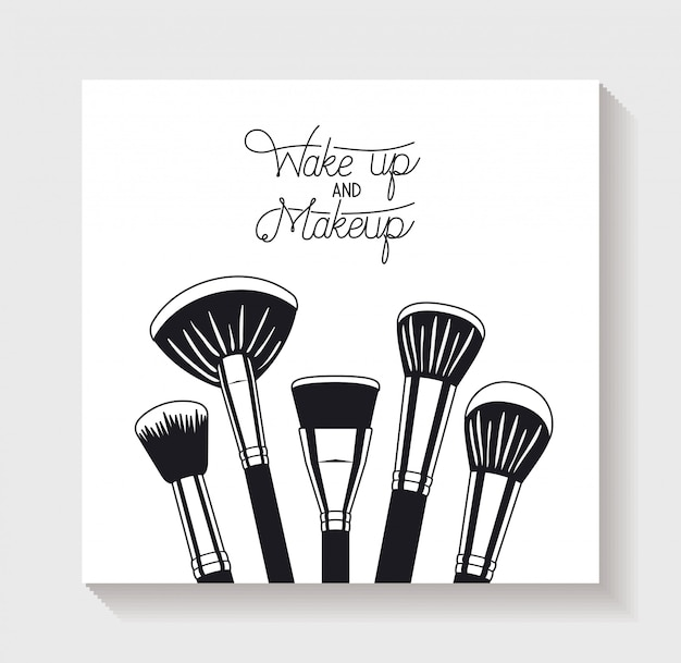 Make up brushes accessories icons Free Vector