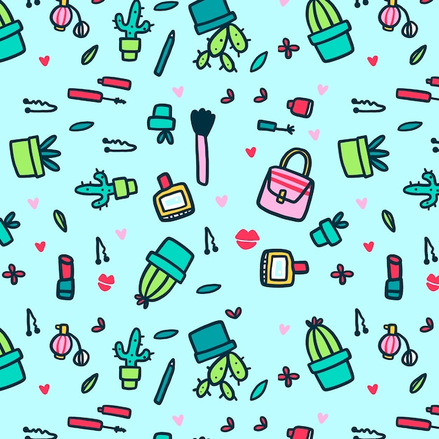 Make-up and cacti seamless pattern Free Vector
