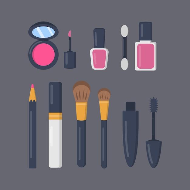 漫画のアイコンの化粧品セットを構成します。口紅とポマードのファッションメイクアップコレクション。ビューティーサロンと女性の化粧品雑誌のイラスト。 Premiumベクター