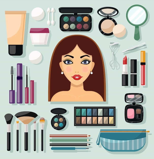 Make-up icons flat Free Vector