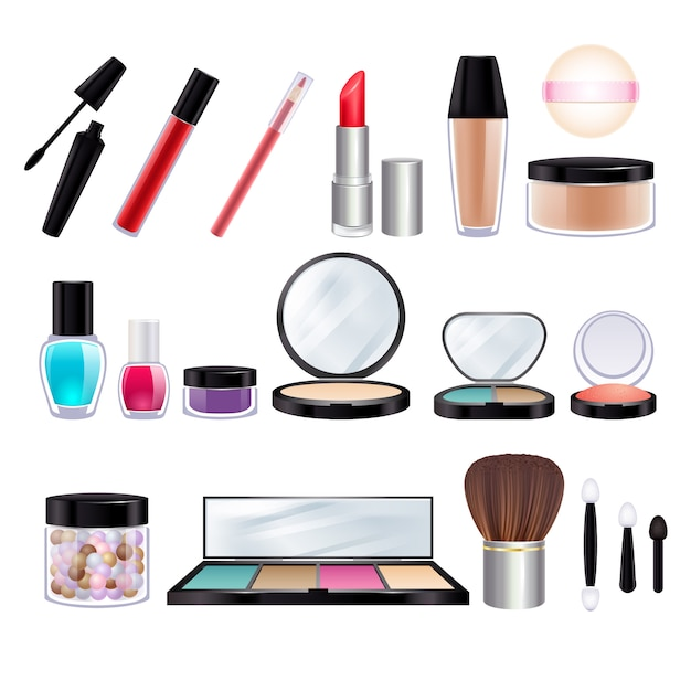 Make-up realistic icons set. Premium Vector