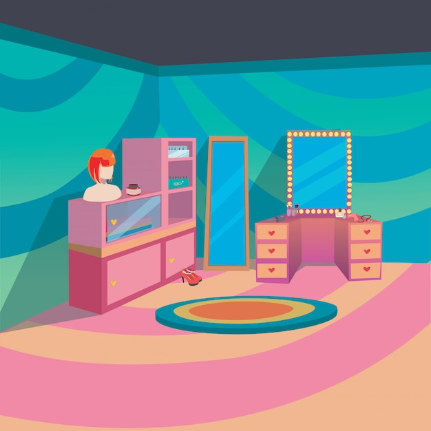 Make up room interior at home with cartoon style background Premium Vector