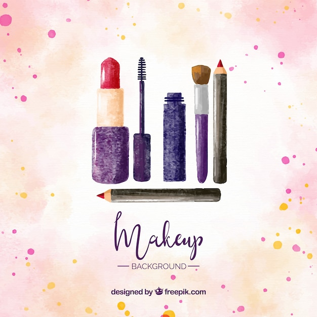 Make up set with watercolor style Free Vector