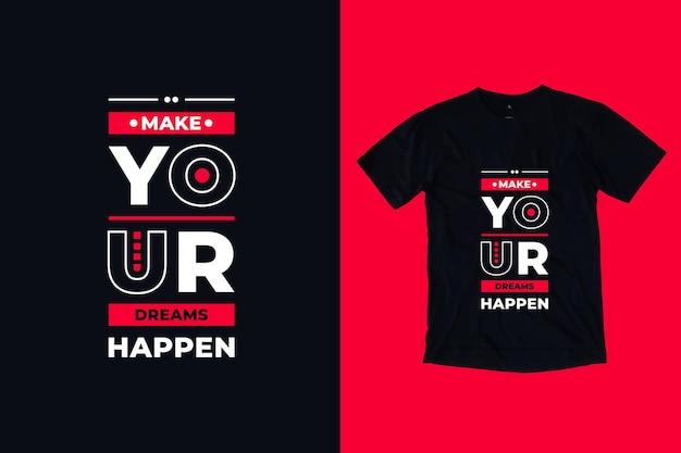 당신의 꿈을 현대 타이포그래피 기하학적 영감 따옴표 T 셔츠 디자인 프리미엄 벡터