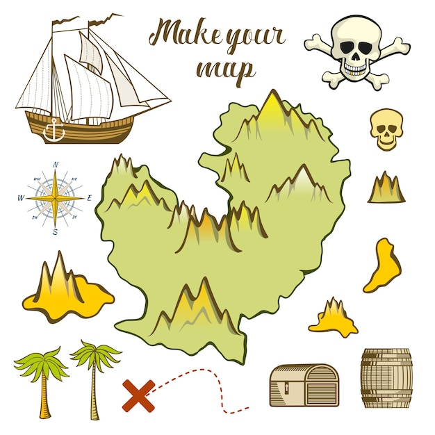 Make your map of island Premium Vector