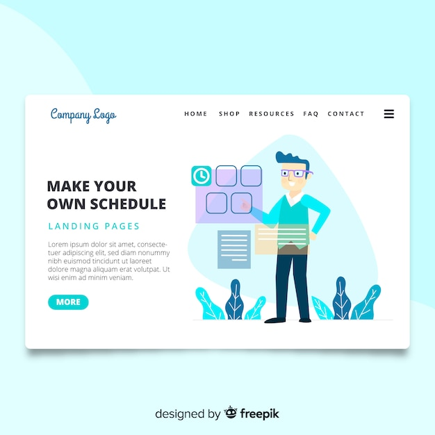 make your own schedule landing page vector free download