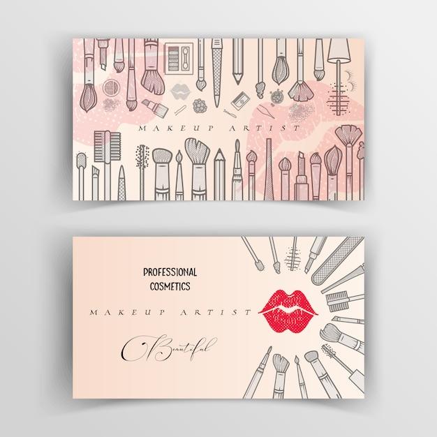 Makeup artist business card template. Premium Vector