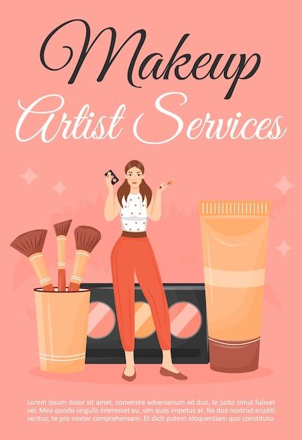 メイクアップアーティストサービスポスターフラットテンプレート。ビューティーサロンの化粧品を持つ女性。パンフレット、小冊子1ページのコンセプトデザインと漫画のキャラクター。コースのチラシ、リーフレットを作成する Premiumベクター