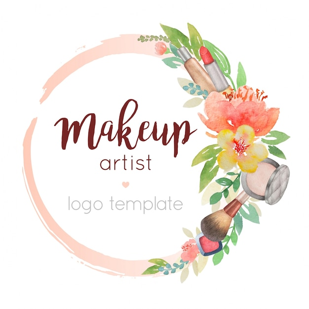 Makeup Artist Watercolor Logo Template With Flower Decor Premium Vector