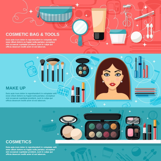 Makeup banner set Premium Vector
