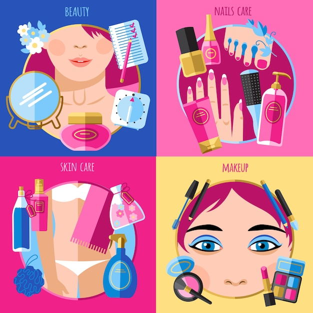 Makeup beauty 4 flat icons square Free Vector