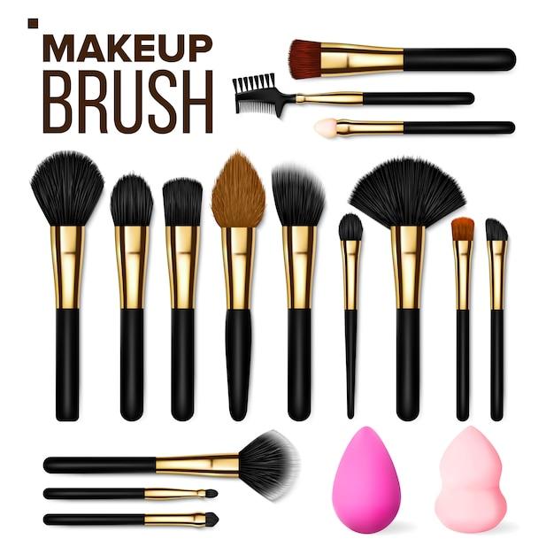 Makeup brush set Premium Vector