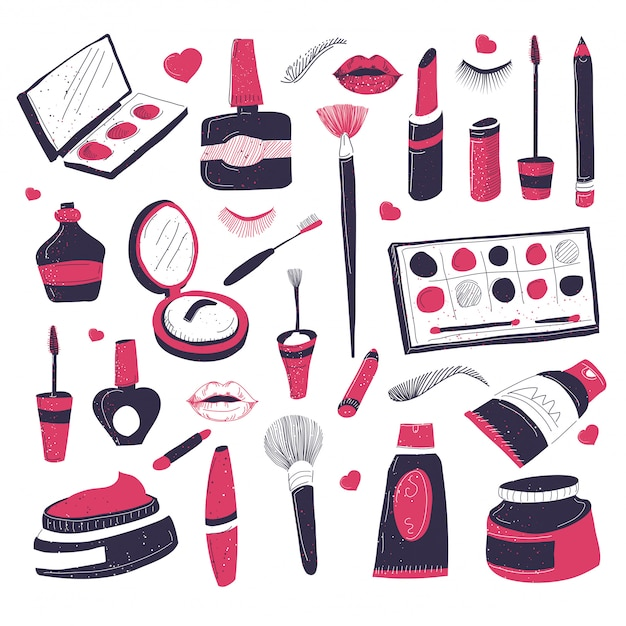 Makeup cometics for beauty salonet of products Premium Vector