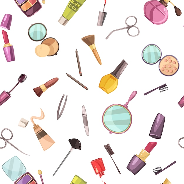 Makeup cosmetic beauty case accessories flat seamless pattern Free Vector