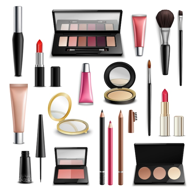 Makeup cosmetics accessories realistic.items collection Free Vector