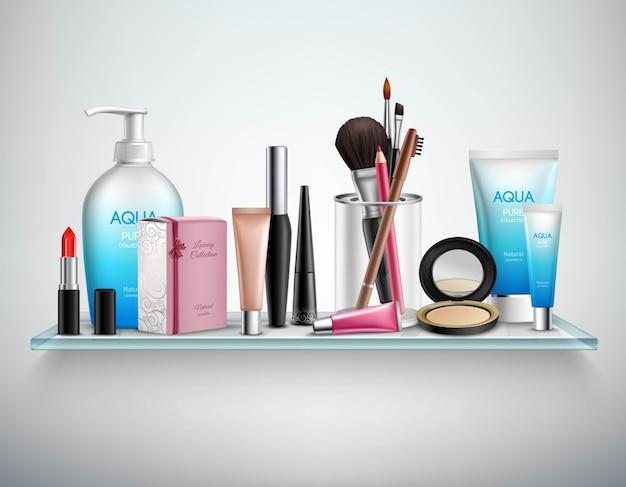Makeup cosmetics accessories shelf  realistic image Free Vector