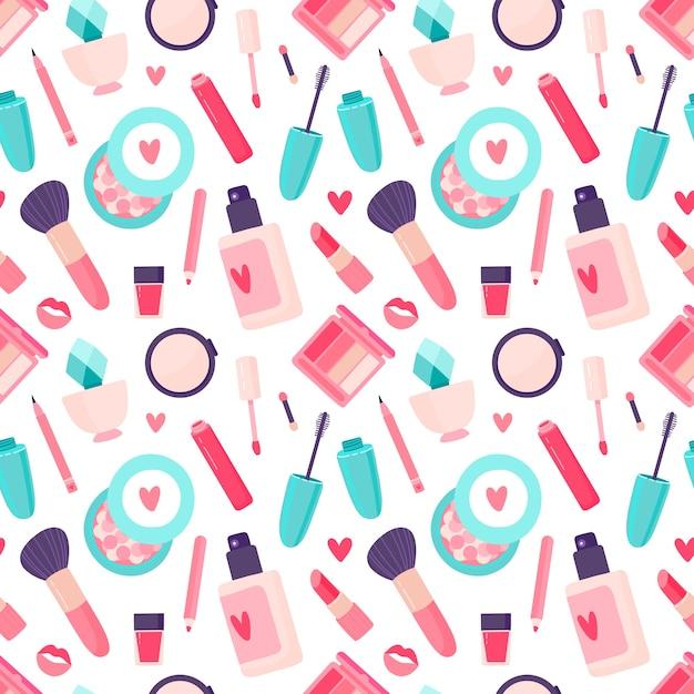 Makeup cosmetics seamless pattern