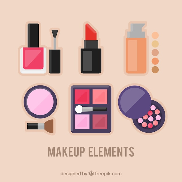 Makeup elements in flat design vector free download Free eps editor