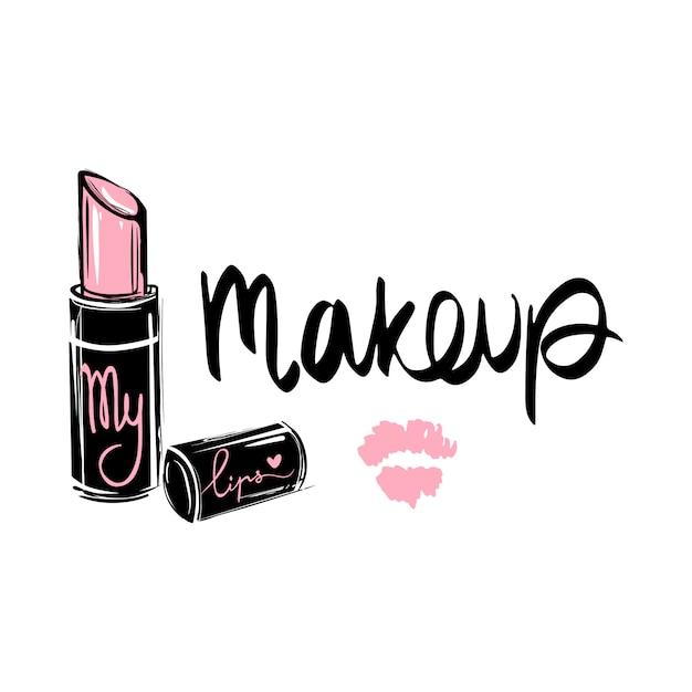Makeup fashion logo. lettering illustration. calligraphy phrase Premium Vector