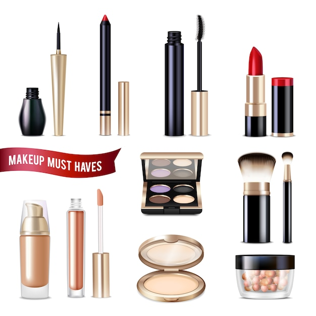 Makeup items realistic set Free Vector