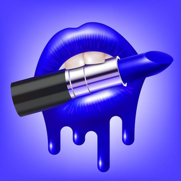 光沢のある溶けた唇を持つ開いた女性の口のメイクアップ口紅 Premiumベクター
