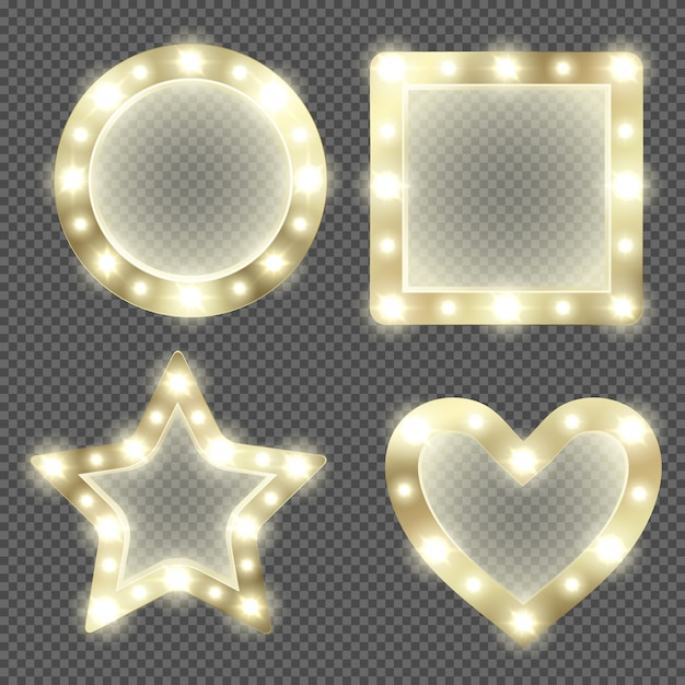Makeup mirror in gold frame with light bulbs Free Vector