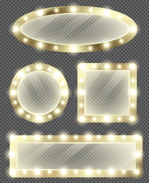 Specchi per il trucco in cornice dorata con lampadine Vettore gratuito