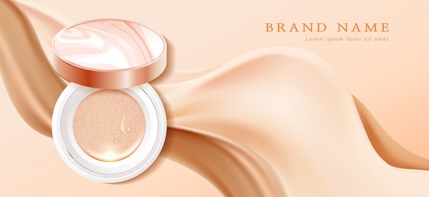 Makeup powder cushion poster template illustration Premium Vector