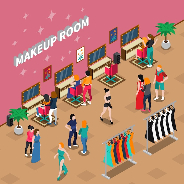 Makeup room fashion industry isometric illustration Free Vector