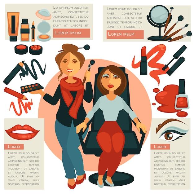 Makeup salon or visagiste profession vector poster. Premium Vector