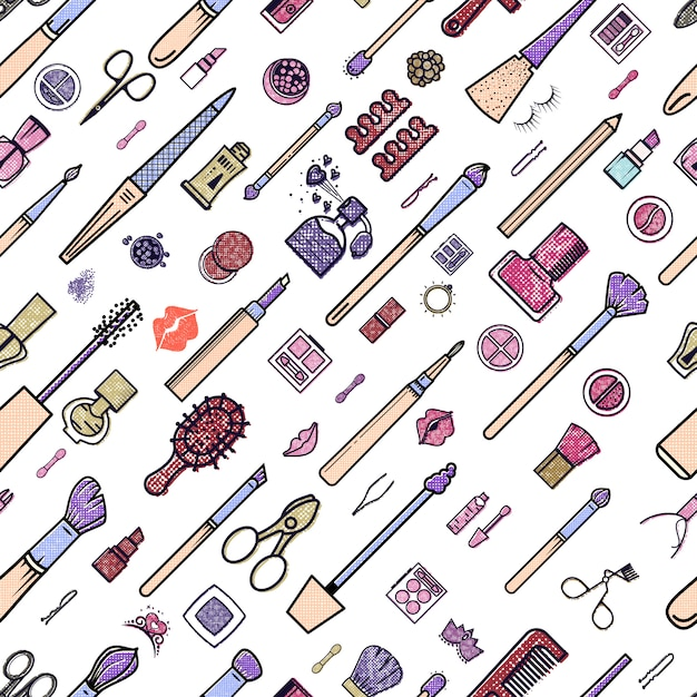 Makeup seamless pattern. Premium Vector