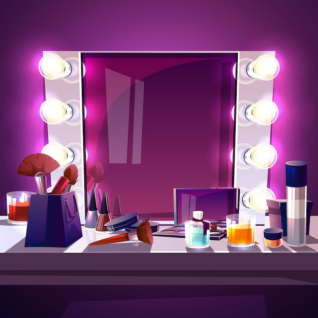 Makeup square mirror with lamps bulb, cartoon illustration modern silver frame Free Vector