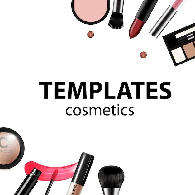 makeup template with collection of make up vector premium download