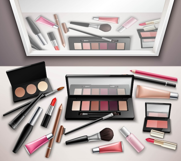 Makeup work space accessories Free Vector