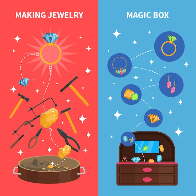 Making jewelry banners set Free Vector